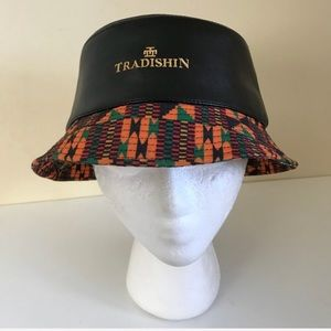 Accessories - Tradishin Leather Kente Bucket Hat f02593cdd77